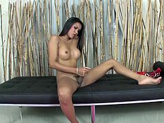 Big tits tranny cums after jerking his thick cock that seems to entice the viewers as it throbs hard on camera.