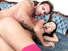 David Perry sticks his tool in yummy Sashas bum after she gives head