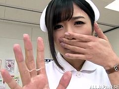 Lewd Japanese nurse is having her own way of curing male patients. She kneels in front of some guy and rubs his dick till it explodes with jizz in her hands.