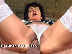 Shes s nasty sex obsessed granny in schoolgirl uniform. Aged slut in plaid short skirt and stockings gets her loose many times used pussy drilled by rock stiff cock again. Watch her do wild things outside.