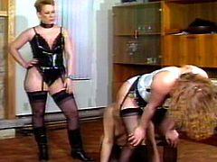 Milf in latex enjoys dominating during hot and horny threesome femdom porn
