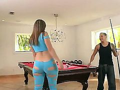Blonde Briella Bounce with round booty and trimmed beaver spends her sexual energy with horny guy Cris Commando