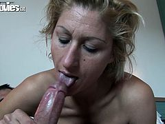 She is naughty woman of older age. However she is still banging. Watch her in a dirty porn clip sucking hard flesh of young stud in the morning.