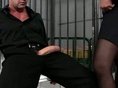 Dirty slut in torn pantyhose gets fucked in  prison