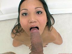Get a load of this Asian babe's gorgeous face and the rest of her sexy body in this hot POV where she gives head before having her face covered by cum.