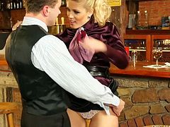 Divine blond MILF in seductive satin blouse and black pencil skirt relaxes after hard working day in bar when she gets lured by a horny bar tender. He kisses her in lips rubbing her soaking pussy with fingers before he leans to it to give a zesty tongue fuck.