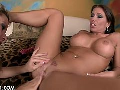 Angie Angel has her ass hole toyed hard by Candy Strong. She takes a dildo and a vibrator in that hole.