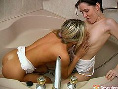 These chicks know how to make bath time more fun and exciting. Pulling her girlfriend's face into her seductive cleavage, babe wants her tits licked and here's what happens next...
