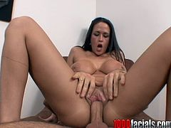 A hot brunette bitch with super hot big tits gets fucked the way she's supposed to get fucked! Check it out right here, bitch!