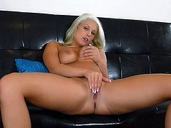 Blanche Bradburry is a flirtatious blonde babe with juicy boobs. She takes off her white panties and then fingers her tight european pussy with big enthusiasm. Watch lovely Blanche Bradburry play with herself.