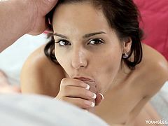 Horny Livia receives a hard fuck from stud with long dick sliding her vag