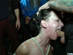 A crowd watched as this fucking slut gets tied up and fucked by some dominant sadists, hit play and check it out right here!