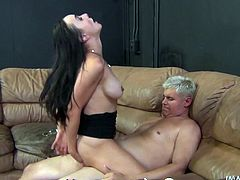 This brunette fucking skank puts off her cigarette to fucking ride some cock in this kinky hardcore scene right here. Check it out.