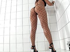 One of a kind brunette beauty Eve Angel with natural boobs and jaw dropping firm ass in black underwear and fishnet stockings teases and polishes her cunny in amazing solo session