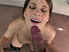 Watch this busty brunette playing with her wet pink pussy in this hot POV where she ends up with a facial after sucking and titty fucking a big cock.