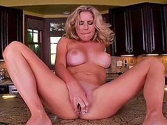 Yummy hot blonde chick Ainsley Addison is having naughty masturbation on the kitchen counter with fr