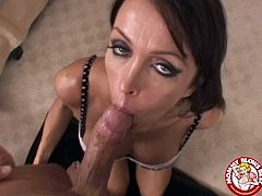 Kristina Cross is a cock addicted brunette deep throating this guy's massive dick in this hot POV where you'll hear her gag and see her teary eyes.