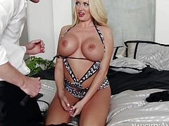 Summer Brielle is a beautiful busty blonde that needs sex tips from the pro to spice up her sex life. She get it from Ryan McLane that touches her big melons and fucks her pink pussy.