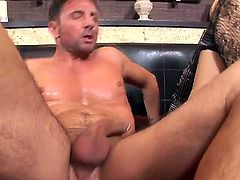 Turned on handsome stud David Perry with cheep tattoo gets seduced by blonde cougar Logan with heavy make up and red nails in stockings and fucks her hard in the ass.