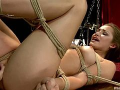 This female domination video has Gia Dimarco playing with Dani Daniels, tying her up, fucking her pussy with her strapon and more.