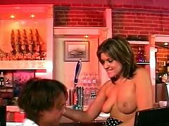 Watch a provocative brunette milf using her body to get the bartender hot and hard. After giving him a blowjob she's ready to get her tight ass drilled balls deep into a massive anal orgasm.