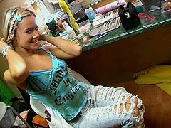 Just look at this hot blond teen with pigtails. Awesome cutie can be proud of nice slim waist, sweet natural tits and rounded butt. She is topless and poses seductively on cam. Gosh, dude, don't be a dull one, just check her out in Seventeen Video xxx clip and be sure to jizz of delight all over the place.