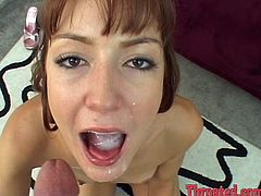 Take a look at this hot POV where a slutty babe ends up with a mouthful of hot cum as she sucks away on this guy's large member.