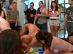 Naughty chicks Diamond Kitty, Jada Stevens and Jennifer Dark are plying some fun game totally naked at front of many cunt thirsty guys.