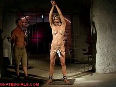 Klarisa Leone is tied up, she can't move, shecan't speak...her master wants to make her feel like a sex toy. He punishes her and fucks her hard.