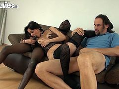 Nasty whore is ready to serve two guys at the same time. She sucks one dick and rides another one. Go for the hottest interracial threesome sex tube video produced by Fun Movies porn site.
