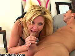 Milf is staying on her knees and sucking a dick