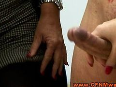 Rough femdom CFNM matures jerk off dude and spank him