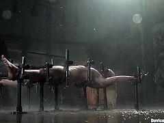 This poor blonde girl is suffering bondage at its best, as she can't move, can't talk and has clothespins on her small tits and a dildo in her pussy.