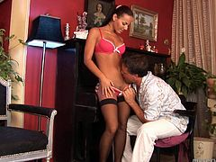 Breath-taking beauty Marilyn appears before her piano tutor in outright appeal. She wears hell seductive lingerie, black nylon stockings and high heels. She seduces him for sex so he wraps her firm nipples with mouth lips suckling intensively. Then, Marilyn kneels down to please his dick with her talented mouth.