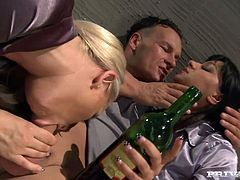 Two sexy bitches Angel Pink and Jessica Moore are playing dirty games with some guy in a prison. They suck his dick hungrily and then ride it crazily by turns.