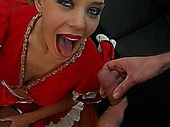 Annette get pissed on during blowjob