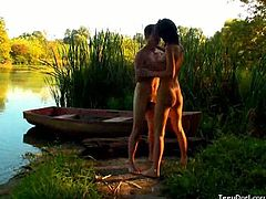 Check out these horny russian amateurs having some wild fun outdoors. They fuck in the nature and decided to move the action to the old boat!