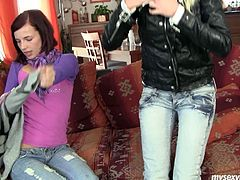 Lascivious chicks Leila and Kathy are horny chicks who have never tries lesbian sex before. So they start caressing one another chilling at home together. Blonde one her pussy fingered from behind by the brunette girl.