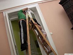 Tasty looking brunette milf is helping her hubby with reconstruction works. Later she bends over a later with legs spread wide to get her shaved cunt tongue fucked in peppering sex video by My Sexy Kittens.