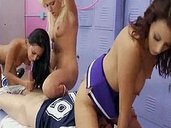 Watch four sexy cheerleaders sucking and riding a hard rod of meat while sharing intense lesbian pleasures in this hot locker orgy.