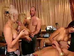 Enjoy this amazing playboy vid where two naughty blonde and one Asian brunette party with their men and share all kinds of pleasures.