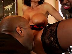 Divine black mature with peppering body covered with black and red lingerie hooks up with two black dudes. They tongue fuck her delicious cunt before she rides one of them in cowgirl style while giving a mouth fuck in sizzling hot interracial MMF sex video by WCP Club.