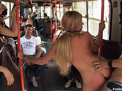 A dirty blonde bitch is fucked outdoors and the inside of a public bus with people in it and all, hit play and check it out!