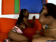 Two booty black chicks boast of their big rounded asses. Kinky chicks with nice tits have some oil to make their huge asses look brighter. Zealous lesbos giggles and smack butts passionately. Why not to switch to teasing cunts for more pleasure?