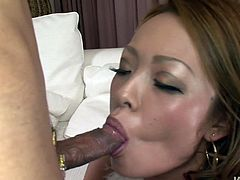 Mind taking Japanese babe gives deepthroat blowjob to long hard penis before she lies on her back to get nailed in missionary style in sizzling hot sex video by Jav HD.