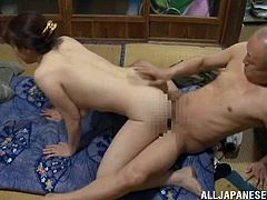 Well-endowed Japanese chick is trying to please her horny husband. She strips and shows him her body and then lets him drill her hot wet pussy in all known positions.