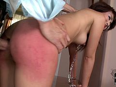 Submissive Japanese MILF takes part in insane BDSM sex orgy. She gets her mouth plugged while standing fully naked with hands enchained in front of horny dude. Later she bends down to get her juicy ass slapped hard.
