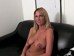 Smoking hot tempting and seductive blonde Trixie Star with big natural hooters and sexy tattoo on lower belly gets naked at the interview and does naughty things in pov.