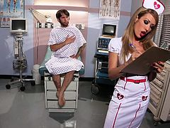 Watch this redhead nurse with long silky hair reveal her sexy body to a horny patient. His cock is already strong and she fully concentrates to mold her lips on that big cock. After stripping she gets her cum asking pussy licked really hard which leaves her with no choice but to moan.