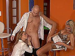 Two blondes in fetish sex